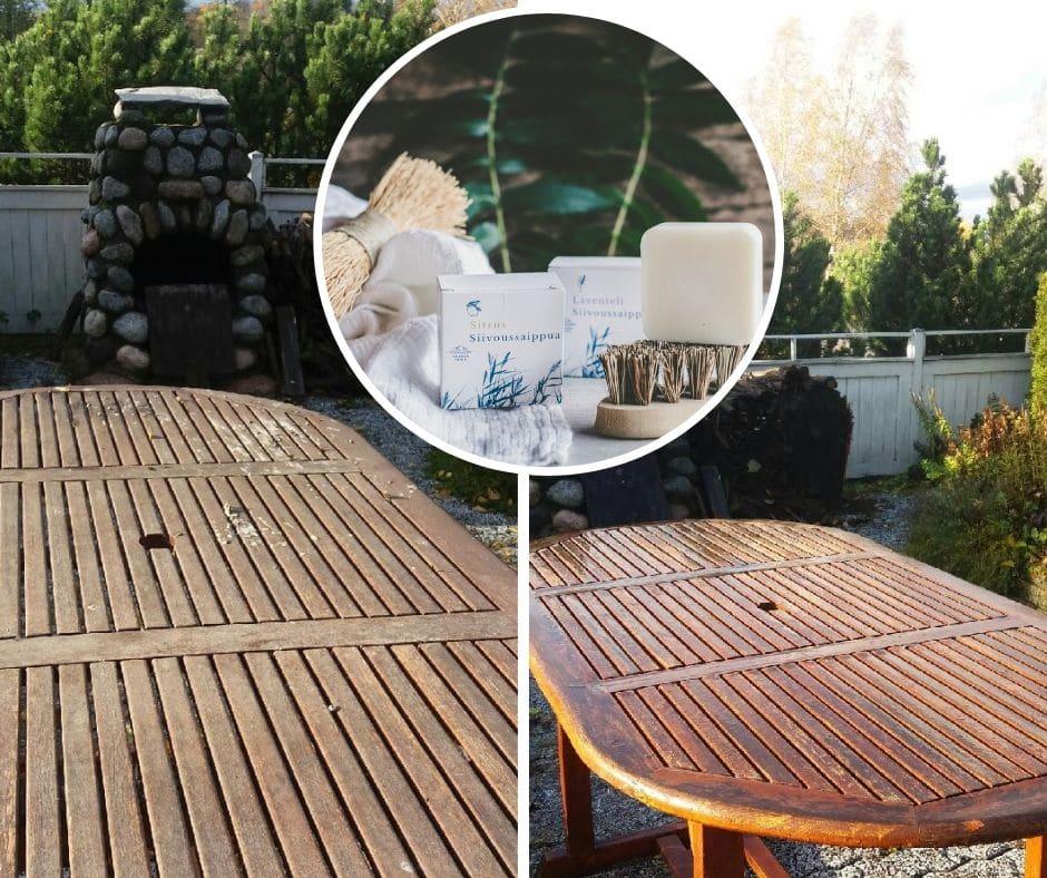Puutarhakaluste ennen ja jälkeen kuvat siivoussaippua